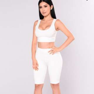 Fashion Nova White Bondoc Biker Shorts Set