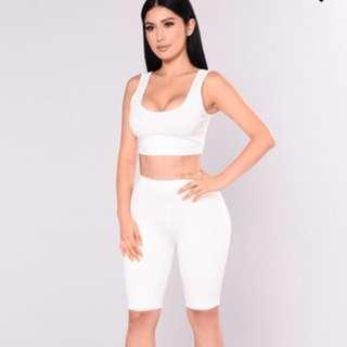 Fashion Nova White Bondoc Biker Shorts Set