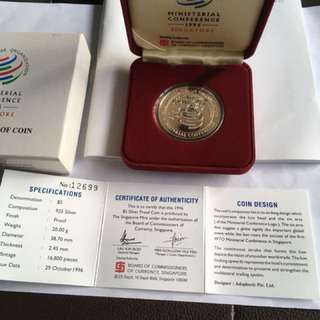 1996 WTO Ministerial Conference $5 Silver Proof Coin