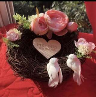 Wedding ring holder - Pink flowers with nest