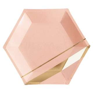 Blush Pink With Gold Stripes Hexagon Large Plates 9″ (Set of 8)
