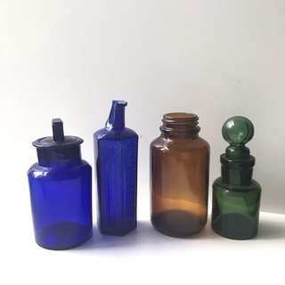 Job lot: blue, green and brown bottles
