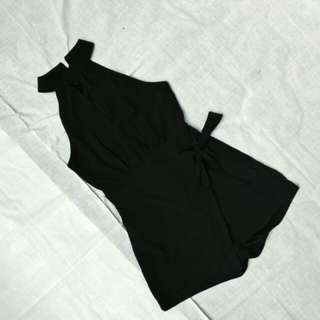 Ribbon tied jumpsuit (black)
