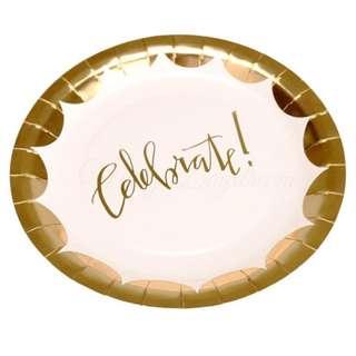 Celebrate Gold Foil Large Plates 9″ (Set of 8)