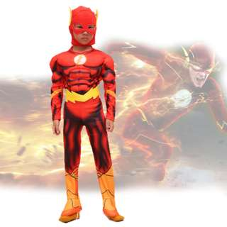 Children Boys Flash Dawn Of Justice Jumpsuit Muscle Costume 4-10Y