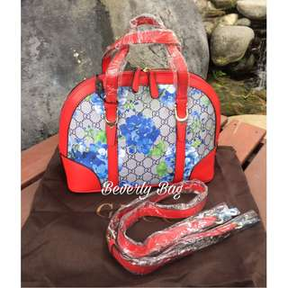 jual tas Gucci Rounded Flower Blue LEATHER MIRROR - red