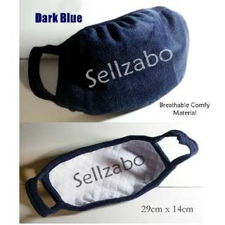 Plain Dark Blue Mouth Nose Mask Cotton Cloth Fabric Sellzabo Colour Unisex Running Sneeze Coughing Haze Protecting Filter Winter Accessories Warmth Ladies Girls Mens Guys