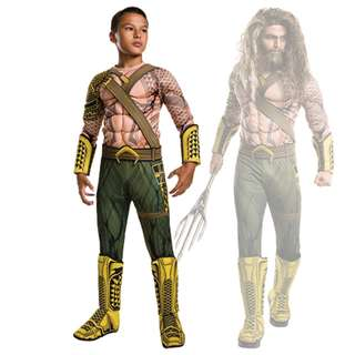 Childs Boys Aquaman Dawn Of Justice Jumpsuit Costume 7-10Y