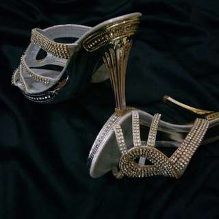 Gold diamond high heels