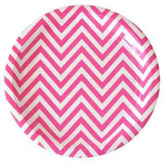 Chevron Large Plates Value Pack 12″ (Set of 12) – Hot Pink