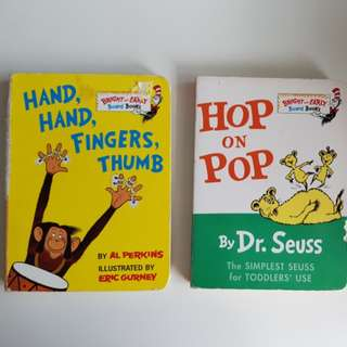 Dr Seuss's books- Hop on Pop and Hand Hand Fingers Thumbs