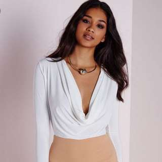 Missguided White Long sleeve Cowl Neck Bodysuit