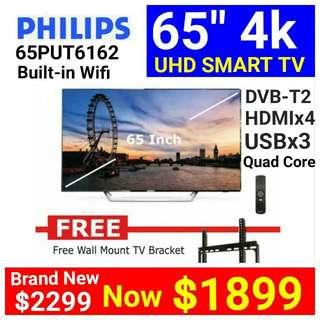 [Brand New] PHILIPS 65-Inch 4K UHD SMART TV (Quad Core Processor with Built-in Wifi ) 2017 MODEL - 65PUT6162.  4 X HDMI  Usual Price: $ 2299 Special Price: $1899  ( Brand New In Box &  Sealed)