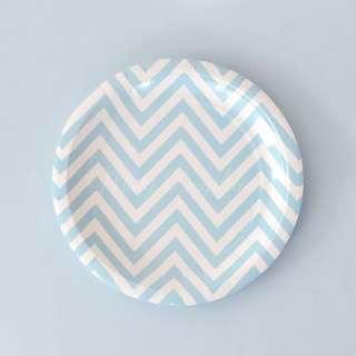 Chevron Large Plates Value Pack 12″ (Set of 12) – Light Blue