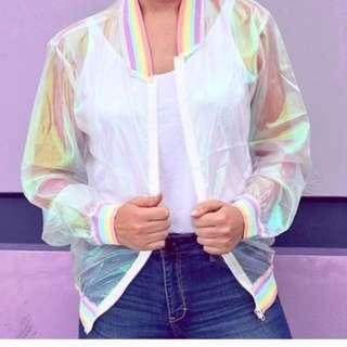 Korean Ulzzang: Retro Holographic Transparent Mesh Rainbow Holographic Laser Jacket