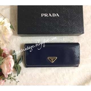 Prada 1M1132 Saffiano Patent Continental Wallet-Blue