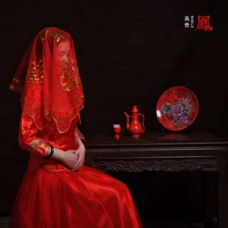 Red Wedding Veil for Kua