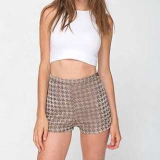 AMERICAN APPAREL HOUNDSTOOTH SHORTS TAN