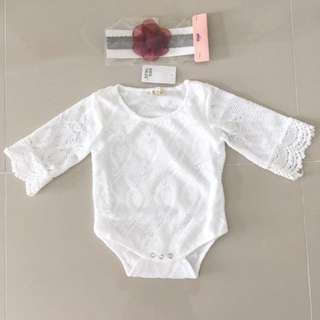 Lace Baby Romper with Trumpet Sleeves + FREE Headband