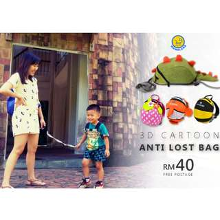 (LIMITED READY STOCK) Children Anti-Lost Safety 3D Cartoon Bag with Safety Leash