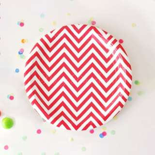 Chevron Large Plates Value Pack 12″ (Set of 12) – Red