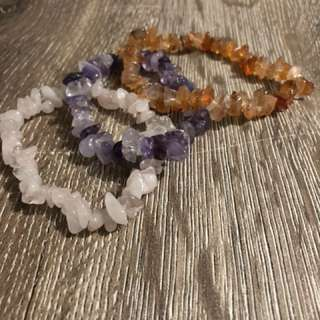 Set of 3 gemstone chip bracelets