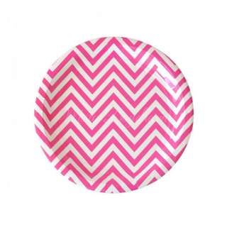Chevron Small Plates Value Pack 7″ (Set of 12) – Hot Pink