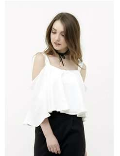 Beth flare white top