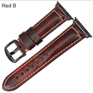 Apple iWatch Vintage Grease leather Strap - Red