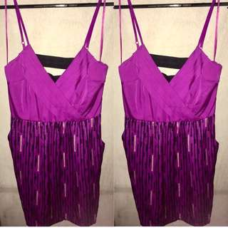 Spaghetti Strap Dress (Purple Print)