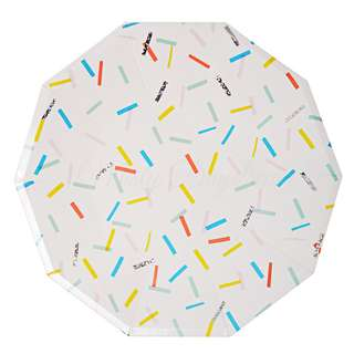 Colourful Sprinkles Large Decagon Plates 9″ (Set of 12)