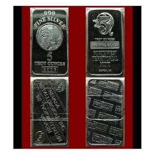♠ USA. NMI & NWTM. 1 Lot - 2x 5 (10) Oz. Troy 999 Fine Silver classic bars (coins* ref)