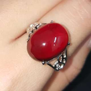 Authentic Hessonite Ring -925 Silver