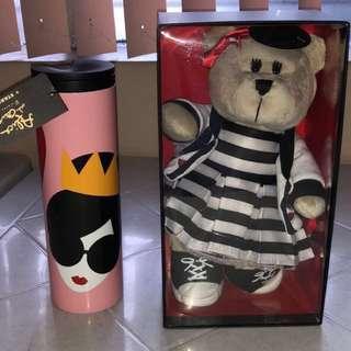 Alice and Olivia Starbucks Bearista, Tumbler and Ceramic Mug