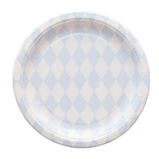 Diamond Pattern Large Plates 9″ (Set of 12) – Blue
