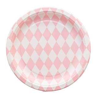 Diamond Pattern Large Plates 9″ (Set of 12) – Pink