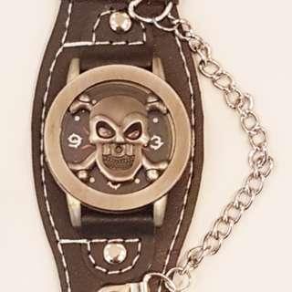 Punk Skull Leather Wrist Watch