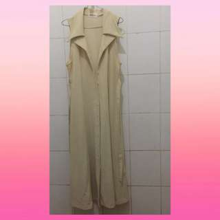 Dress Long Outer Panjang Jubah Cream