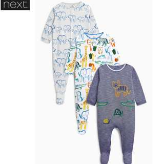SALE! UK NEXT SLEEPSUITS (3PC)