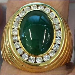 30% OFF GREAT CNY GIFT/SALE {Men's Jewelry - Diamond Jade Ring} Gorgeous 20K Yellow Gold Genuine Diamonds With Type A Men Natural Jadeite 天然翡翠玉 Ring Come With NGI Gemstone Report