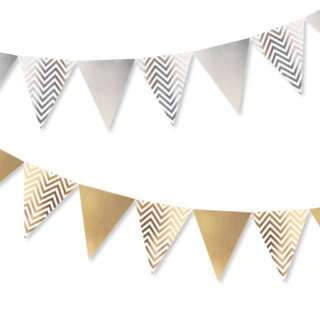 Chevron Party Flags Bunting (Gold/Silver)