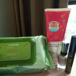 Makeup Wipes, Hair Cream, Eyebrow tint, Nail polish