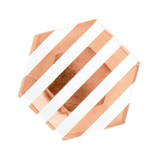 Foil Striped Small Hexagon Plates 7″ (Set of 8) – Rose Gold