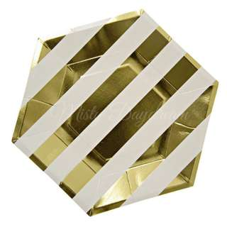 Gold Foil Striped Large Hexagon Plates 9″ (Set of 8) – Gold