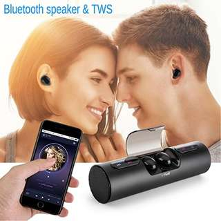 Fantime Bluetooth Speaker with TWS Wireless Bluetooth Earbuds Built-in Mic Low Harmonic Distortion and Superior Sound Perfect Speaker for Outdoor,Travel, Beach, Shower & Home
