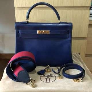 Authentic Vintage Hermes K32 Blue Sapphire