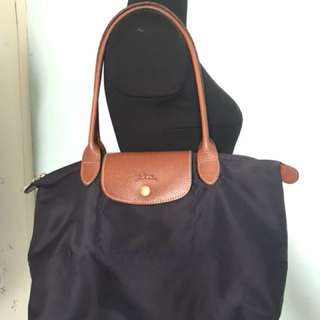 LONGCHAMP Navy Long Handle Med