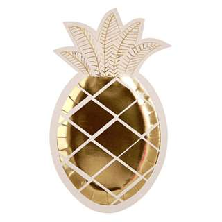Gold Pineapple Plates (Set of 8)