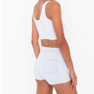 AMERICAN APPAREL EASY HIGH WAISTED SHORTS WHITE