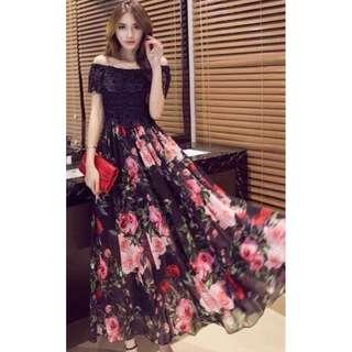 Korean Floral Maxi Dress
